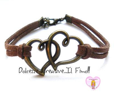 Bracciale Coppia cuore- color bronzo con alcantara marrone , idea regalo unisex