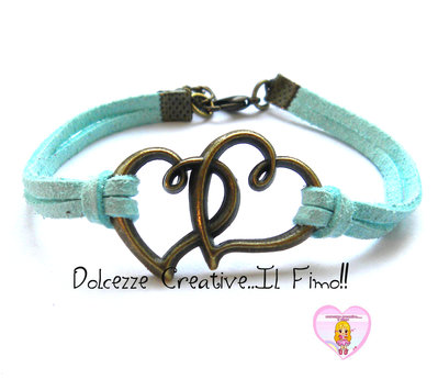 Bracciale Coppia cuore- color bronzo con alcantara celeste chiaro , idea regalo unisex