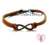 Bracciale Alcantara marrone con glitter - simbolo infinito tonalità bronzo - idea regalo ragazza