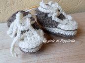 Scarpine sportive tipo sneachers ecrù e corda , idea regalo.