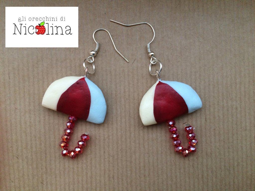 Orecchini ombrellini crema/rosso/azzurro