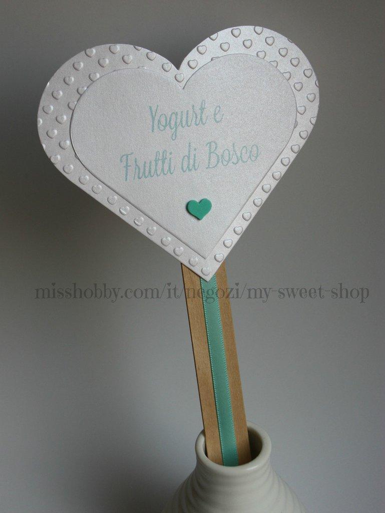 Cartellino targhetta segnagusto confettata verde tiffany o blu notte