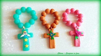 Bomboniere per Comunione e Cresima in fimo handmade decine rosari