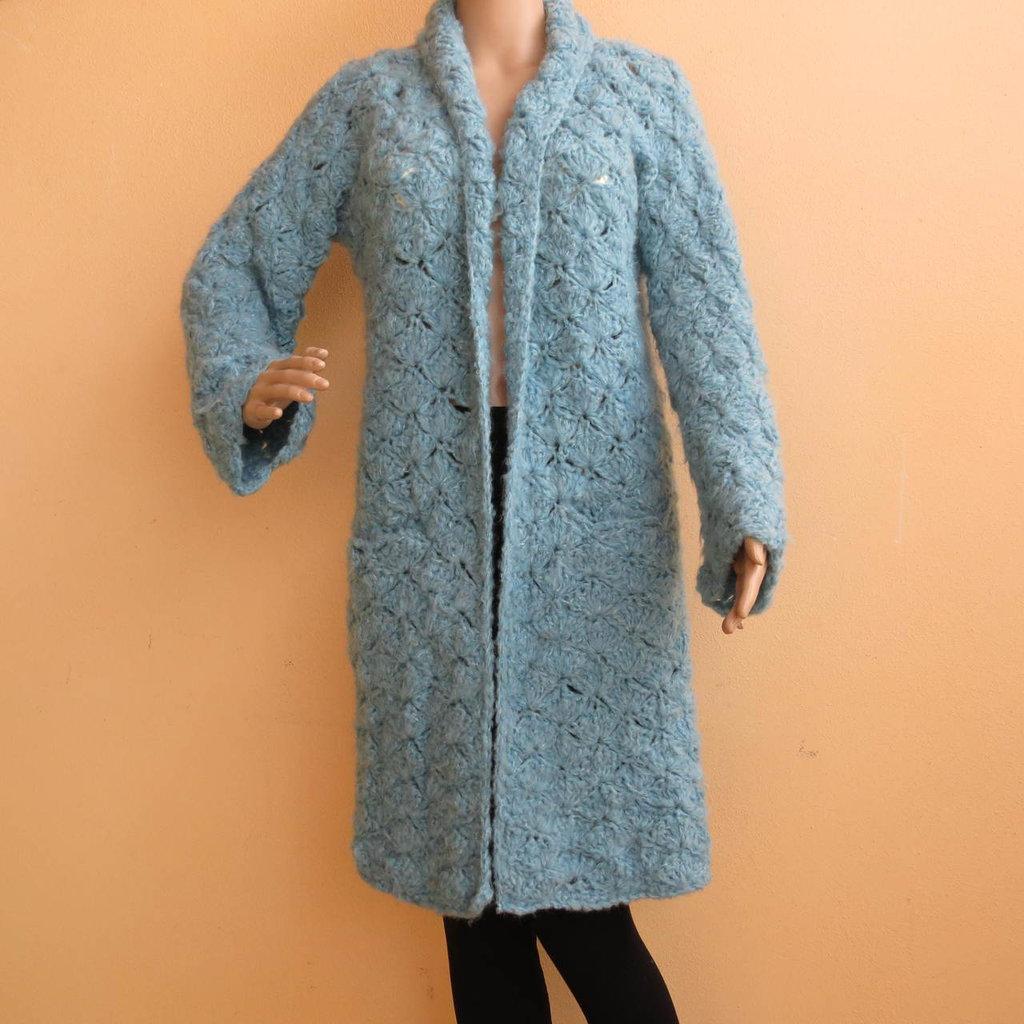 spolverino primaverile il lana color cielo