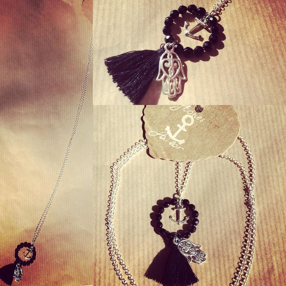 Collana lunga in Argento 925 con charm Hamsa e Ancora,Onice nero sfaccettato e nappina nera