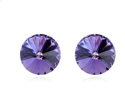 Orecchini con cristalli rivoli viola(tanzanite) montati su acciaio anallergico idea regalo per lei