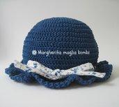 cappellino bimba in cotone Egitto blu con nastrino e fiocco in piquet