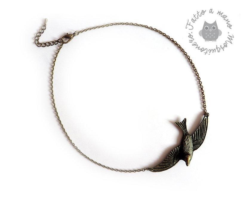 Collana da donna con ciondolo a forma di rondine vintage in bronzo