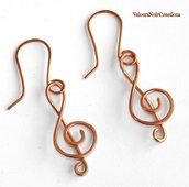 Orecchini note musicali chiave di violino wire musica
