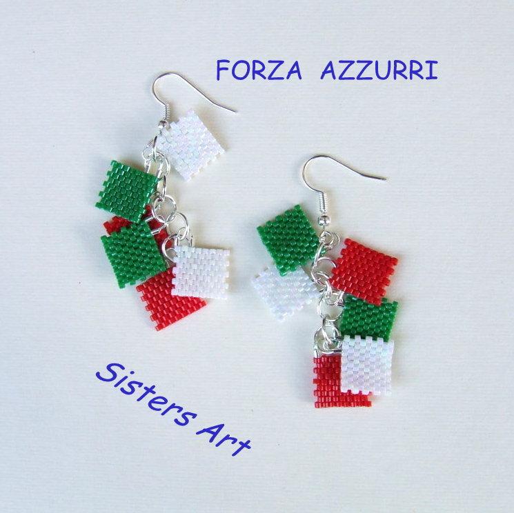 """Orecchini """"Italia"""" realizzati con perline Miyuki delica"""