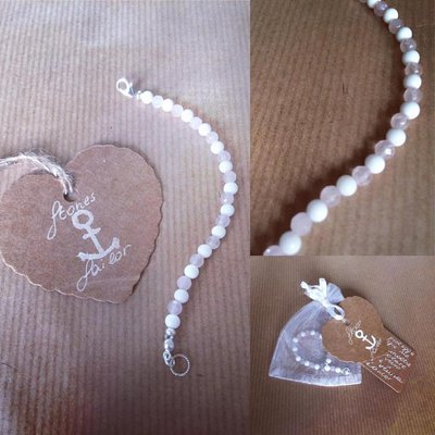 Bracciale bimba in pietre dure Agata bianca e Quarzo rosa