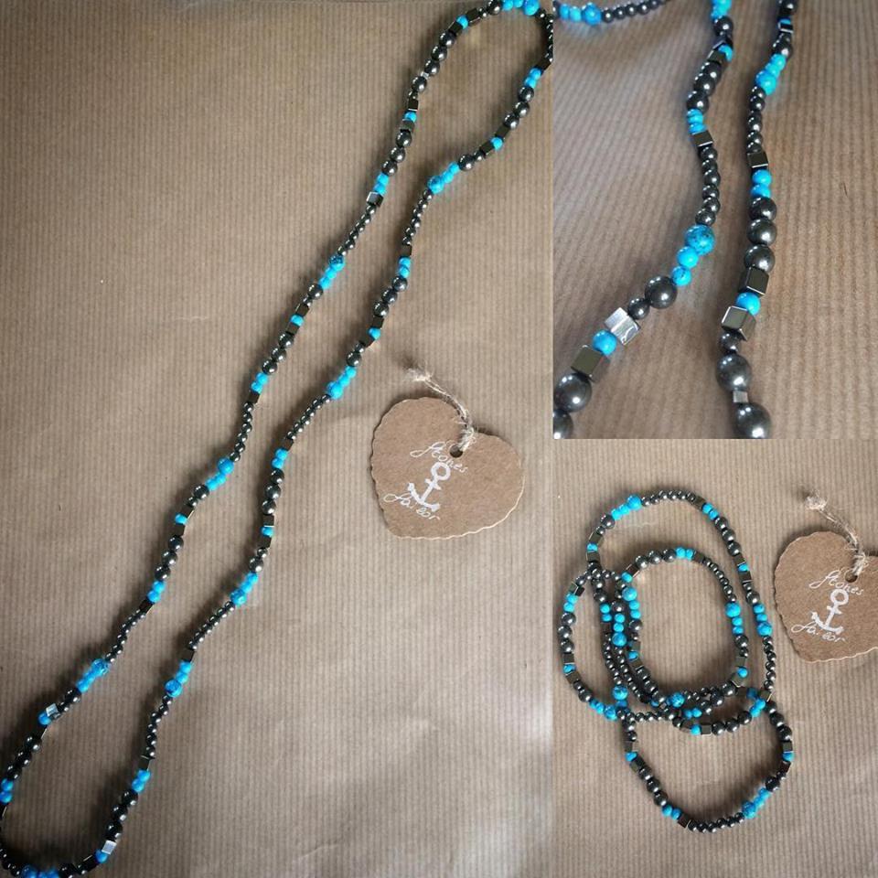 Collana lunga in pietre dure Hematite,Pirite e Turchese