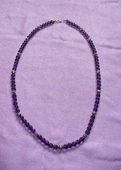 Collana Perle Vetro Boemia - Viola