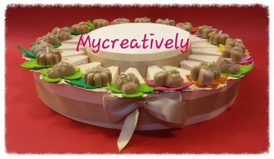 Torta bomboniera 20 fette animaletti candela cera d'api