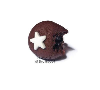 Anello mooncake al cioccolato in pasta polimerica fimo, in alluminio e regolabile