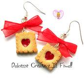 Orecchini Biscotti con glassa a cuore - Marmellata di fragole