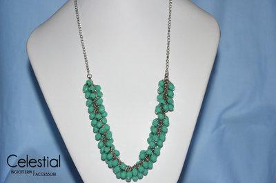 Collana Grappolo - Verde Acqua