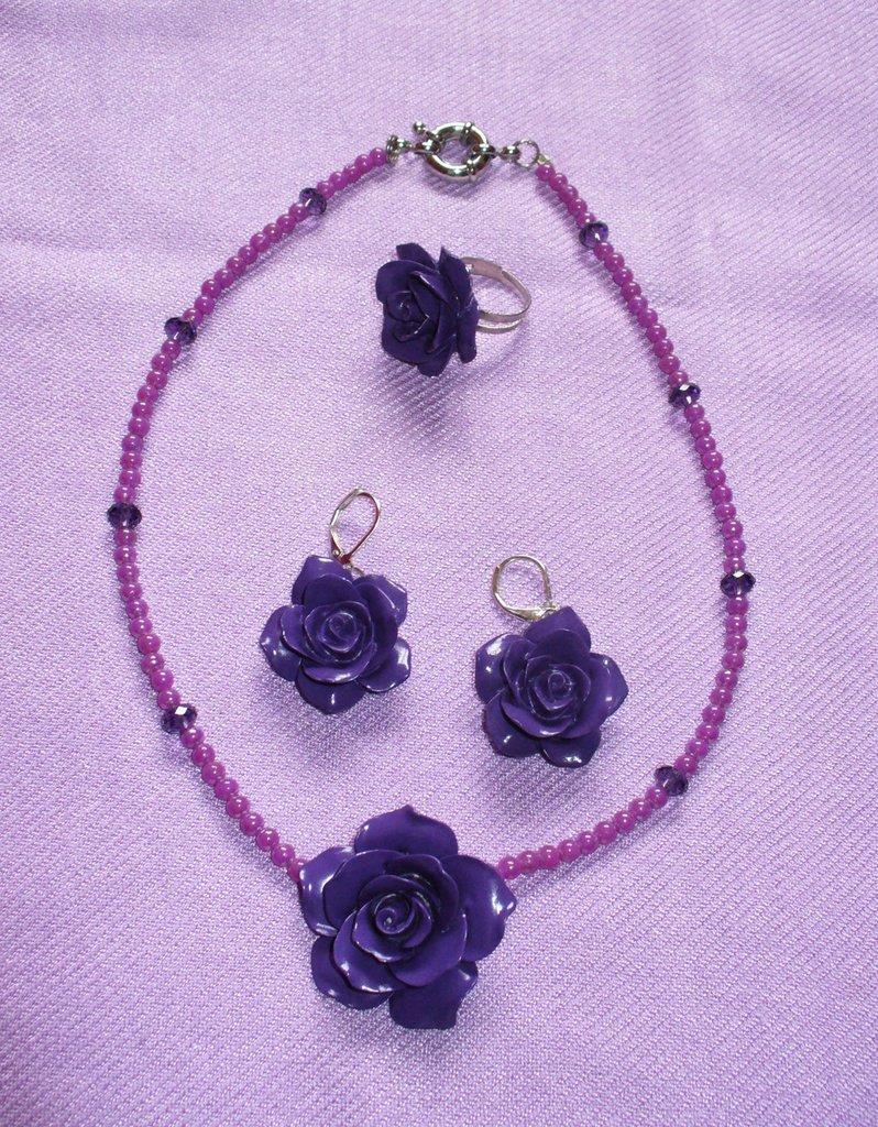 Parure rose in resina - Viola