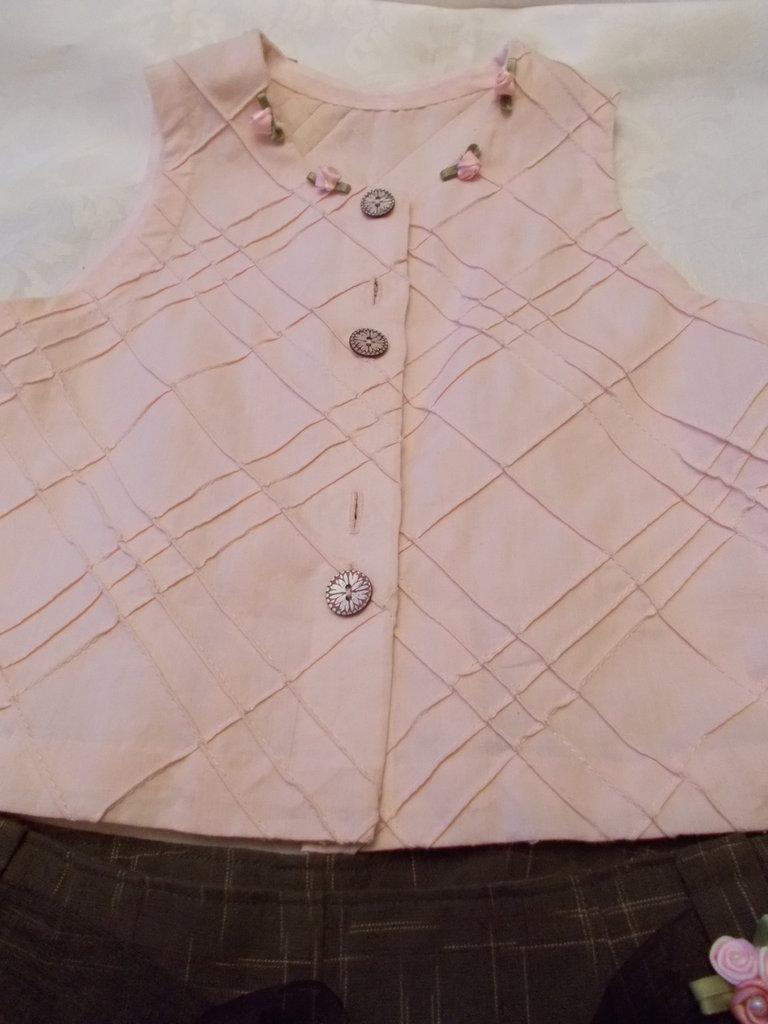 camicetta  cotone operato rosa con roselline