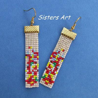 """Orecchini """"Art"""" realizzati con perline Miyuki delica"""