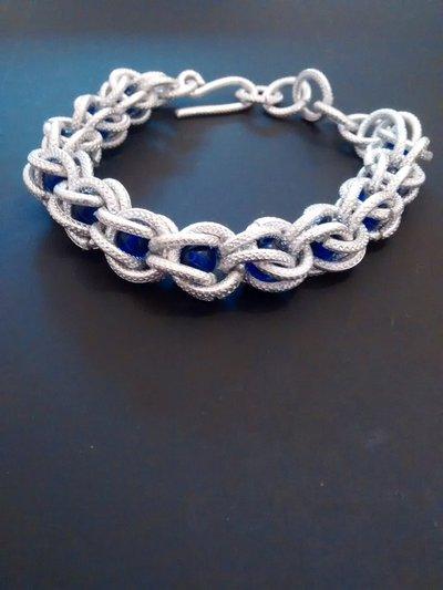 Bracciale argento e blu, wire