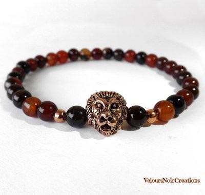 Bracciale elastico per uomo, testa di leone color rame e  pietre dure agata