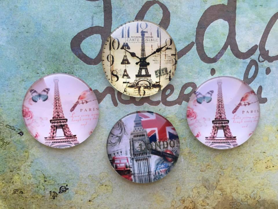 Lotto 4 cabochon Londra Parigi mod.017