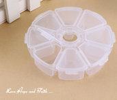 1 Contenitore porta perle/minuteria in plastica ( Diametro: 10.3 cm Altezza: 2.6 cm) ( cod.new)