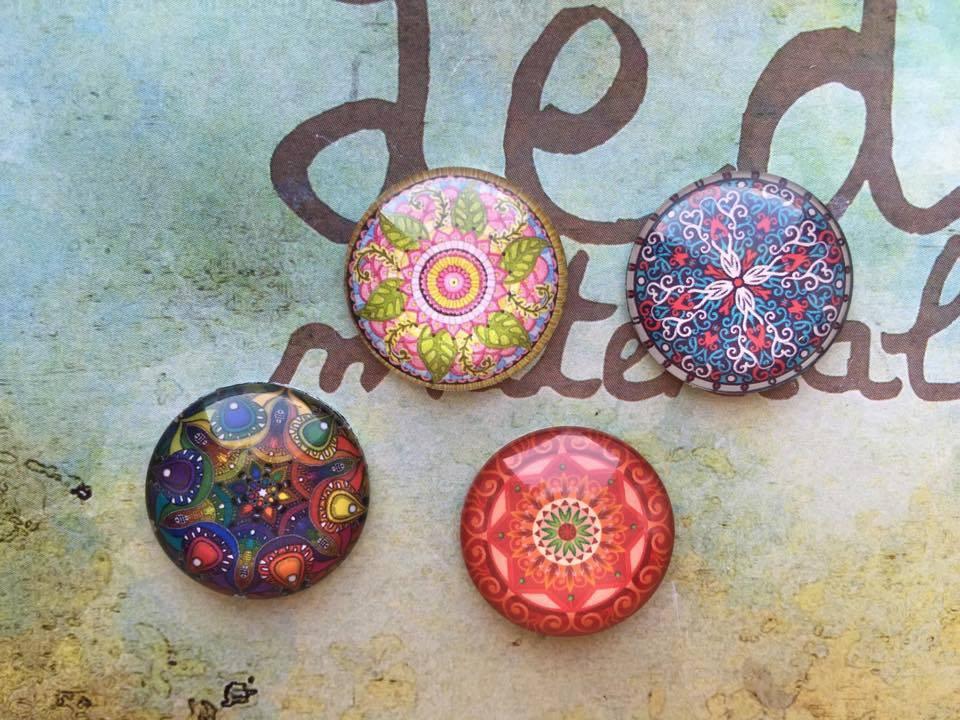 Lotto 4 cabochon Mandala mod.022
