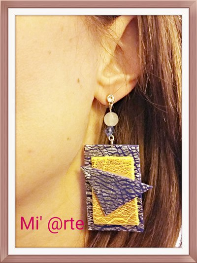 orecchini pendenti in fimo foglia argento e rame