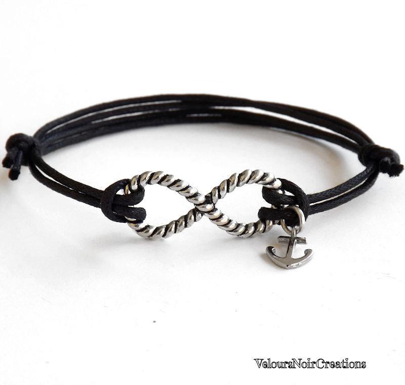 Bracciale simbolo infinito corda e ancora nautico