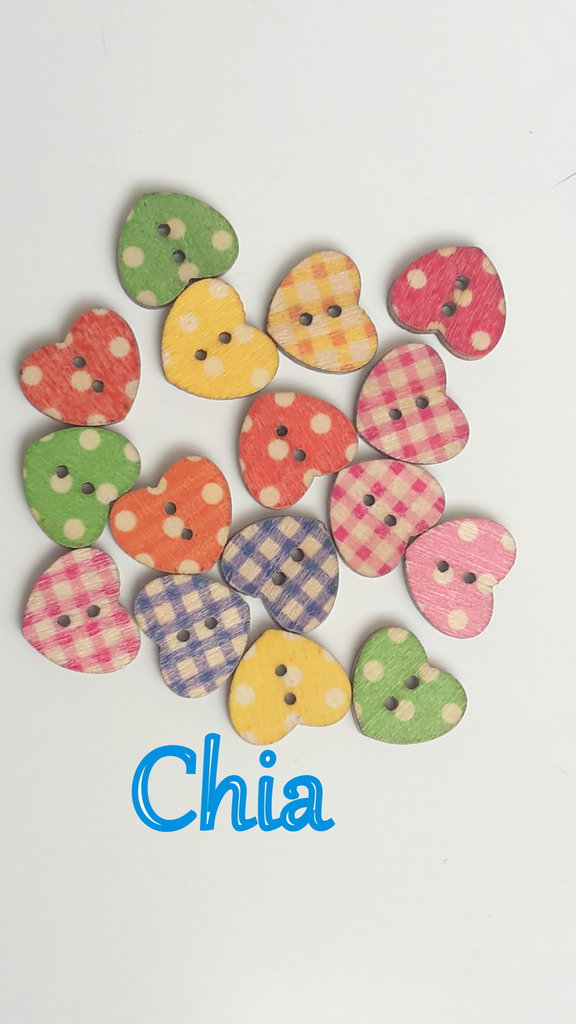 10 bottoni legno cuore stampati country 17x17mm circa
