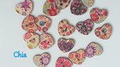 10 bottoni legno cuore stampati fiori 17x17mm circa