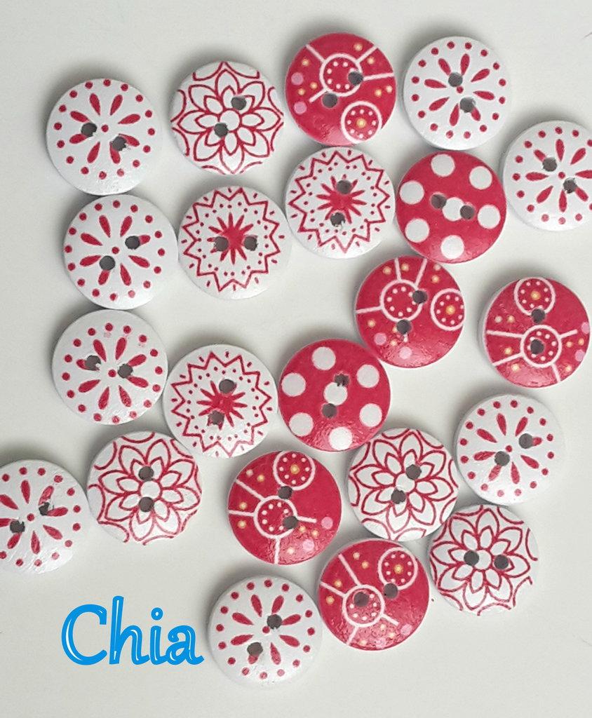 10 bottoni legno fantasie bianco/rosso 15mm diametro