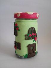 Lanterna/contenitore in vetro e fimo colorato - Funghetto fatato