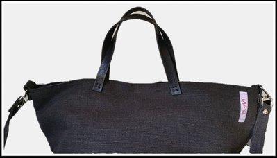 Tote Bag canvas nero-beige con tracolla
