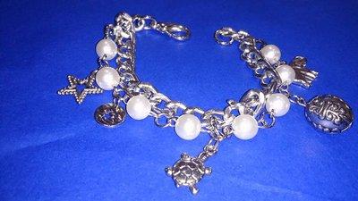 Bracciale doppio giro catena e perla color argento
