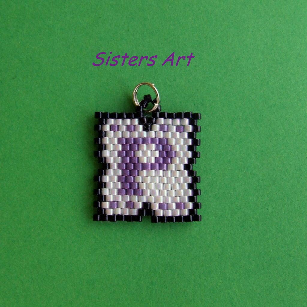 Ciondolo personalizzato con iniziali, realizzato con perline Miyuki delica