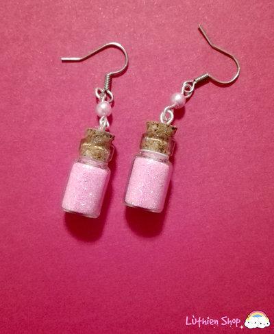 Orecchini boccette glitter rosa