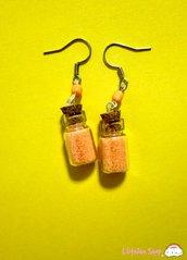 Orecchini boccette glitter arancio