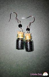 Orecchini boccette glitter nero