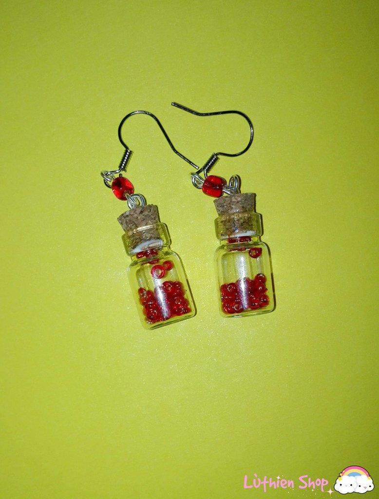 Orecchini boccette perline rosse