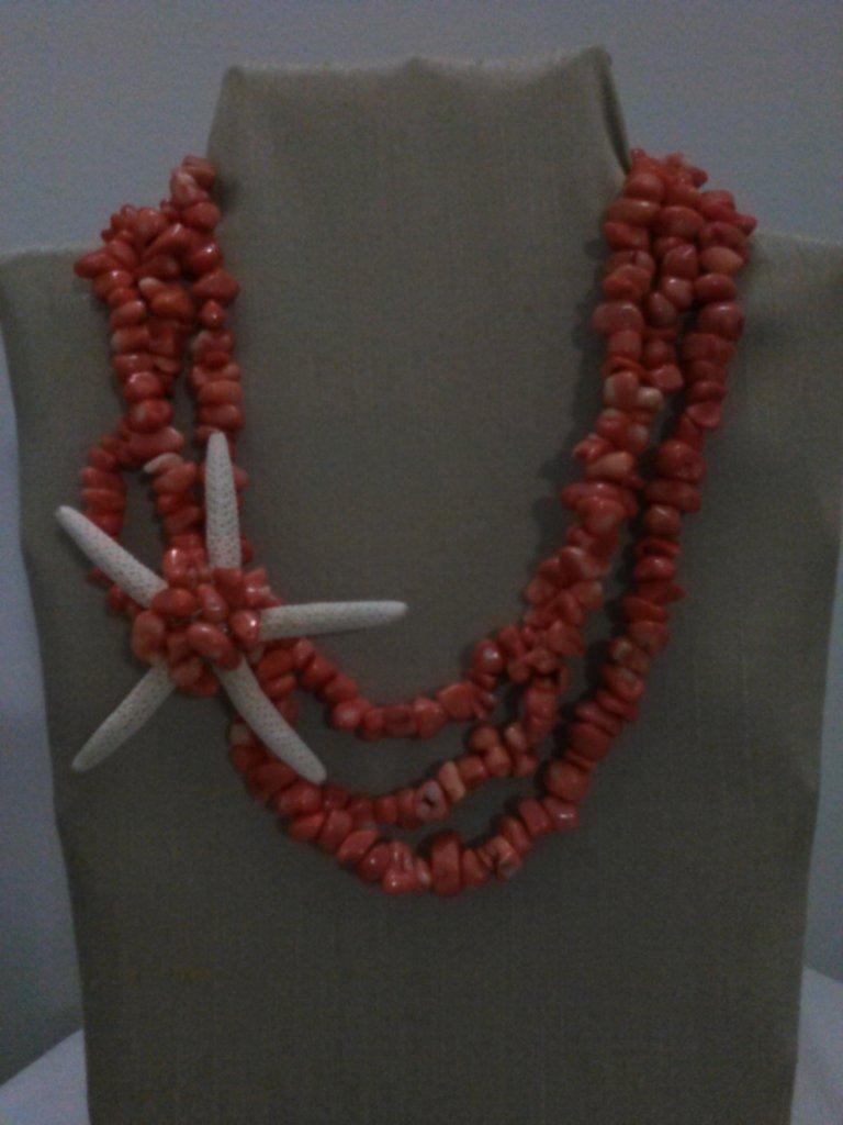 collana corallo con stella laterale