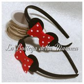 Cerchietto topolina nero con fiocco a pois rossi