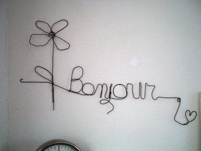 """Scritta """"Bonjour""""  in  fil di ferro,  da parete, ferro cotto nero,decorazione casa country shabby"""