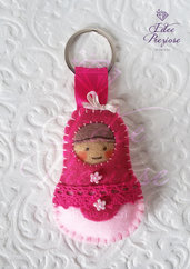 Porta chiavi 'matrioska' rosa