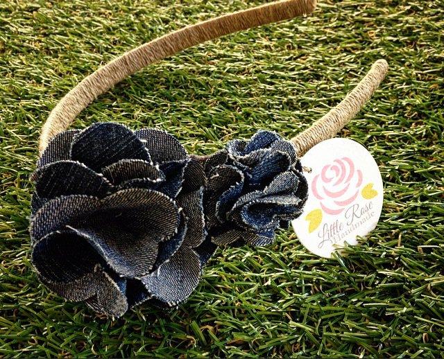 offerte esclusive outlet nuovo stile di vita cerchietto in jeans per banbina e ragazze by Little Rose Handmade