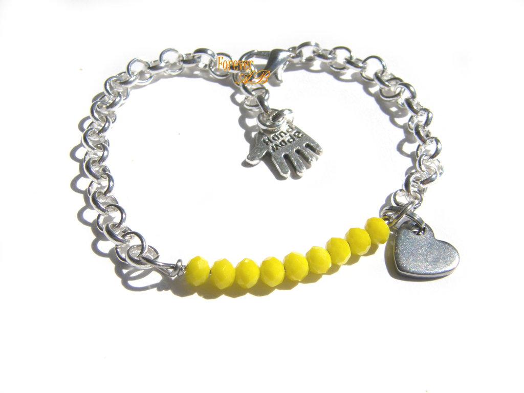 Bracciale perline giallo e cuore idea regalo donna ragazza