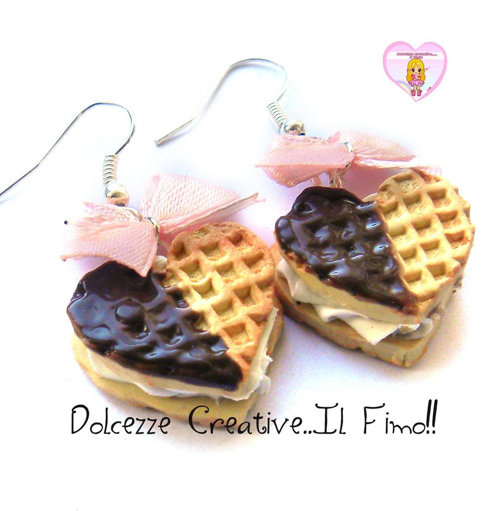 Orecchini biscotti a cuore waffle con glassa al for Decorazione waffel