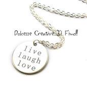 Collana con pendente Tondo - Live - Laugh - Love